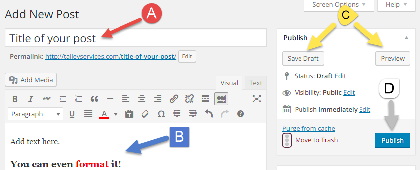 Image showing the WordPress post editor