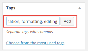 Image showing how to add WordPress post keywords